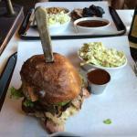 bbq pork sandwich with a side of coleslaw