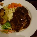 Camel Steak with Mushroom Sauce