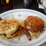 Bacon egg  cheese  bisquit w/  hash  browns