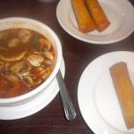 Tom Yum Soup and Crispy Spring Vegetarian Rolls