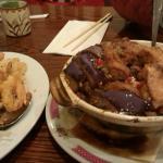 spicy prawns; eggplant/tofu hotpot