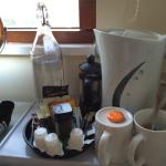 Coffee, tea and filtered water in room