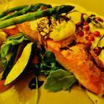 salmon with lobster ravioli and veggies
