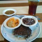 Hamburger steak, sweet potato soufflé, and speckled butterbeans.