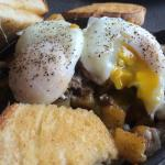 Philly skillet with poached eggs
