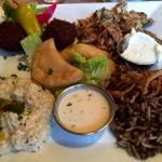 Pick-5 Platter:  Sambousick Cheese (center), Chicken, Moujadra, Baba Ganoush, Falafel