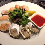 Raw seafood sampler and clam chowder