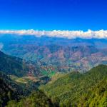 The Panoramic View of Himalaya and front Valley from Shivapuri Peak at 2720 m.