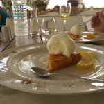 Lemon pie and Orange pie sided with vanilla ice cream