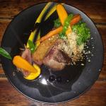 Dukkah-spiced springbok rump with cumin-roasted carrots and blueberry jus – R189