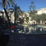 pool area, not bad but holidaymakers expected to lie on broken sun loungers