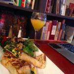 BYO Crepe w/SpeedtrapSalad (Bluecheese & Baslamic) & a MIMOSA sans cherry =)