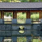 The pavilion overlooking Dogwood Pond