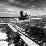 Black and white picture of the Coast Guard Station