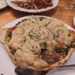 Shepards Pie in the foreground with duck fries in the background