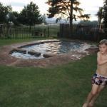 the warm swimming pool