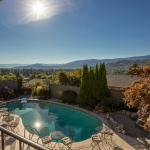 Sun-drenched Salt Water Pool at A Vista Villa in Kelowna, BC & view from Regal Jacuzzi Suite Dec