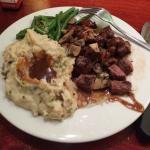 Steak, Mashed, Green Beans, Mushrooms, & A-1