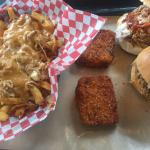 Half order of pulled pork pouting, fried mac n cheese and pulled pork sandwiches! Yum!!!