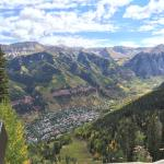 Telluride from above, Town Park at the far end of the town in this picture.