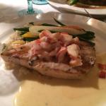 Broiled swordfish with lobster