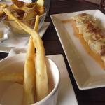 Rustic chips, prawn twists and dumplings