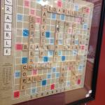 Coffee Scrabble decorating the wall