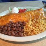 Super Chicken Cocina Burrito, Ranch beans and Spanish rice