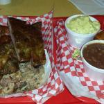 Jerk chicken, ribs, pulled pork