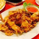 "Garlic fried Prawns, Sizzling tofu and Egg ""Fu Yong"""