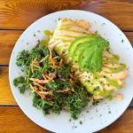 Breakfast Burrito with red pepper and kale tofu, vegan sausage, hash browns, vegan mozzarella, a