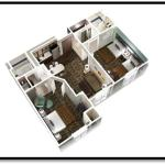 2-Bedroom 2-Bath Suite with Queen & Double Bedrooms