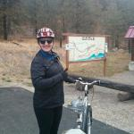 At the Kettle Valley Railway bike path above Naramata with my bike borrowed from Y Knot B&B.