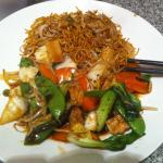 A delicious delivery of monk's vegetables and chilli chow mein.