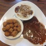 Rice, Okra, Chuck wagon chicken fried steak