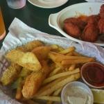 Buffalo bites, corn dog (yes my Don loves ketchup) and fish and chips