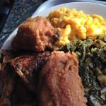 Fried chicken, mac n cheese, jerked chicken, greens