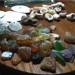 a sample of the collection of shells, agates and beach glass