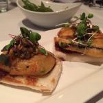 starter (1st) course: fried zucchini on bao bread