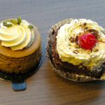 Pumpkin cheese cake and black forest