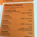 The sharing platters menu