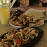 Bagnet and sizzling squid
