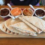 Pitta bread starter with a variety of dips!