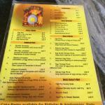 A quick photo of Sanjay Omelet's English menu.
