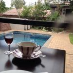 tea and sherry on the veranda overlooking the pool