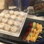 haupia pudding and fruit skewers