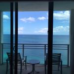 View of balcony and oceanfront view