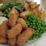 scampi with homemade chips, peas, tartare sauce and salad