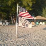 The flags on the beach