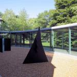 Gravel Sculpture Garden along entrance walkway